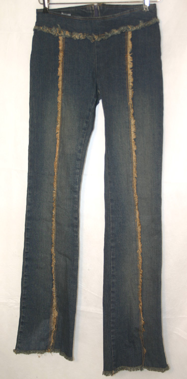 Dark Fade Frayed Ladies Hippie Slim Stretch Jeans