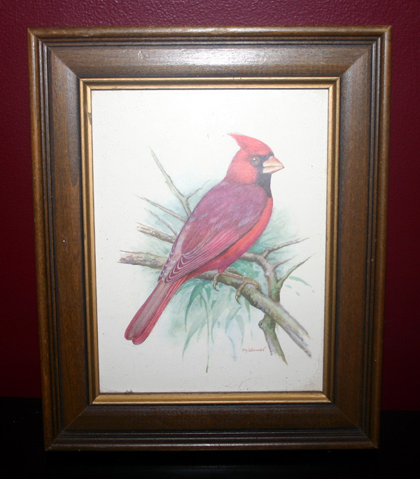 Vintage Wood Picture Frame with Red Cardinal Print