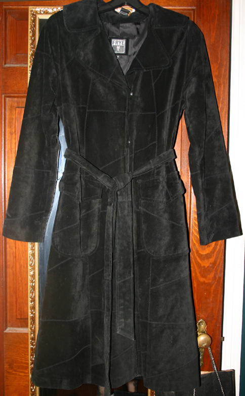 Vintage Frye Black Suede Leather Long Coat Sm Medium