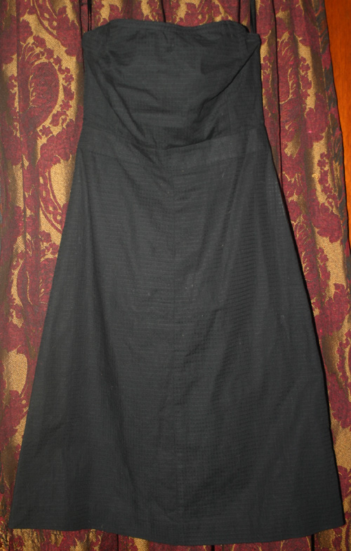 Vintage PinUp Rockabilly Black Strapless Dress Small