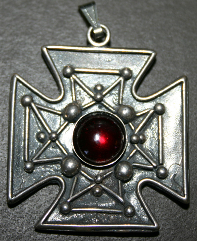 Sterling Garnet German Cross Pendant