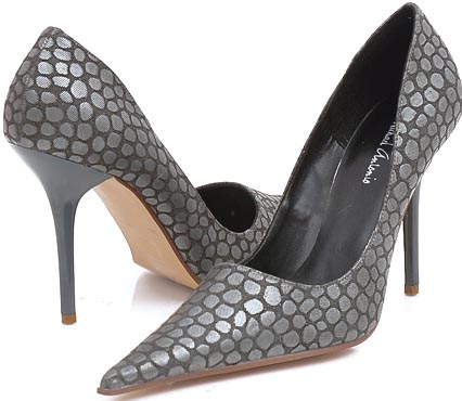 Silvery Gray Extreme Point Pumps Stiletto Heels 6.5