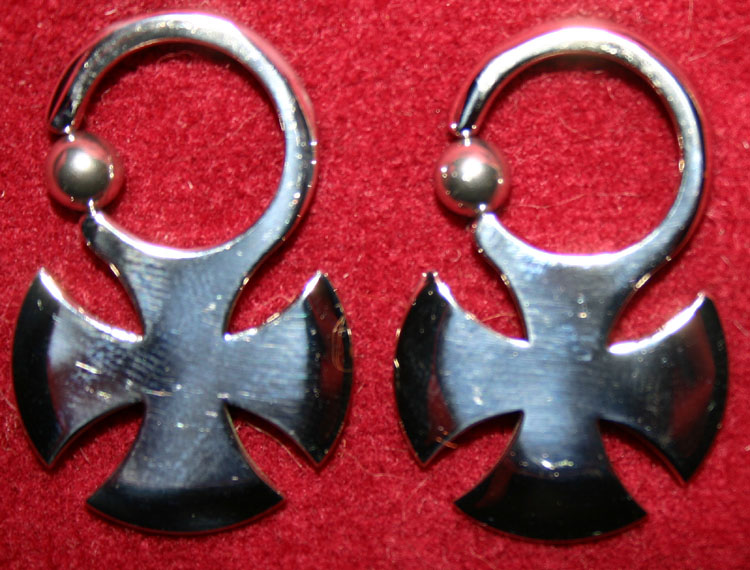 12G German Cross Earrings Captive Bead Rings