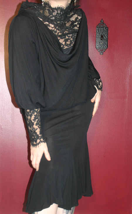 Vintage Victorian Gothic Black Sexy Lace Hobble Dress 4