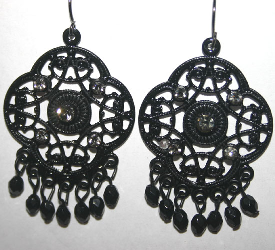 Gothic Black Jewel Beaded Earrings