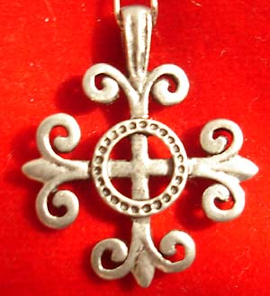 Gothis Cross Pewter Pendant on Black Cord