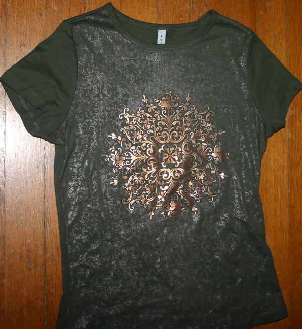 Ladies Army Green Bronze Tribal Star T-Shirt Small Medium