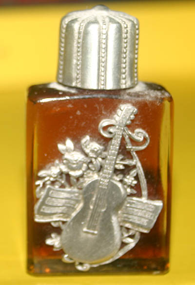 Pewter Glass Perfume Oil Bottle Guitar Nag Champa
