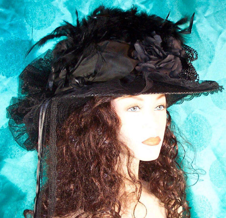 Victorian Black Touring Hat Tulle & Lace