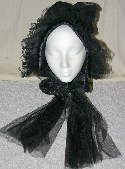 Lolita Cosplay Black Victorian Mourning Ladies Bonnet