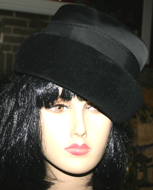 Vintage 1940s Black Imported Fur Classy Ladies Hat
