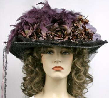 Victorian Lavender Black Feather Hat