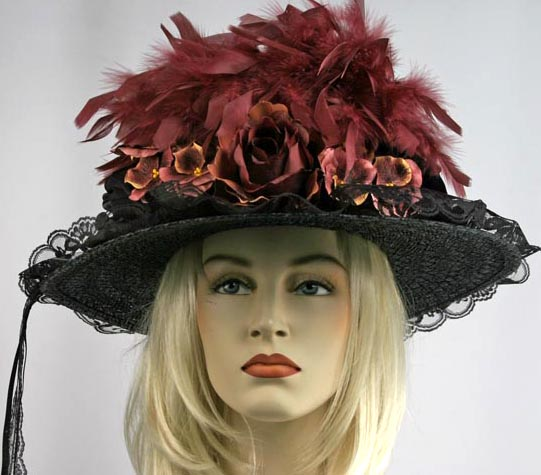 Victorian Burgundy Black Hat Feathers Train