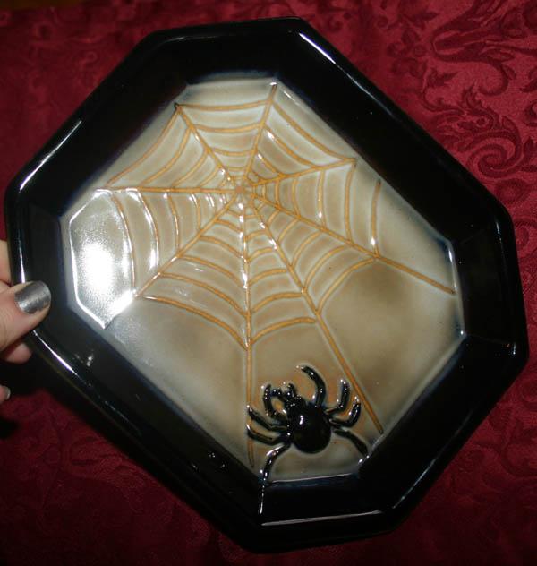 Gothic Spiderweb Spider Halloween Candy Dish