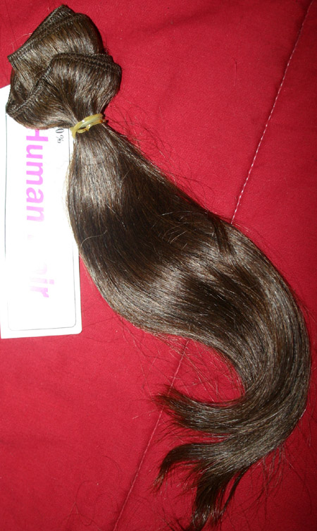Quality Human Hair Brown Hair Weft Extensions 13 Inch