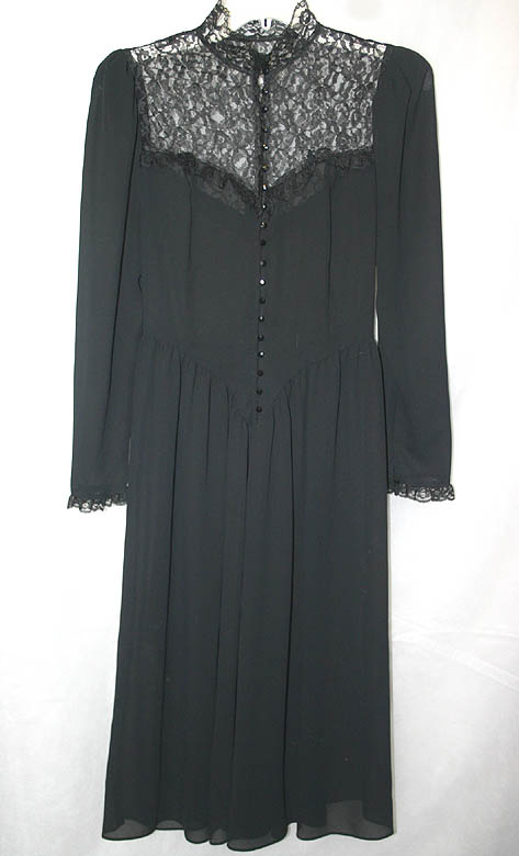 Vintage Gothic Black Sheer High Lace Collar Dress