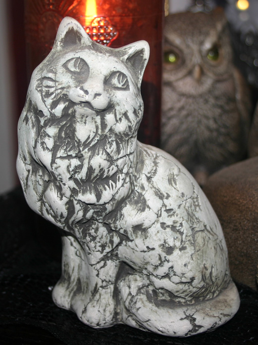 Vintage Handmade Signed Cat Sculpture Statue