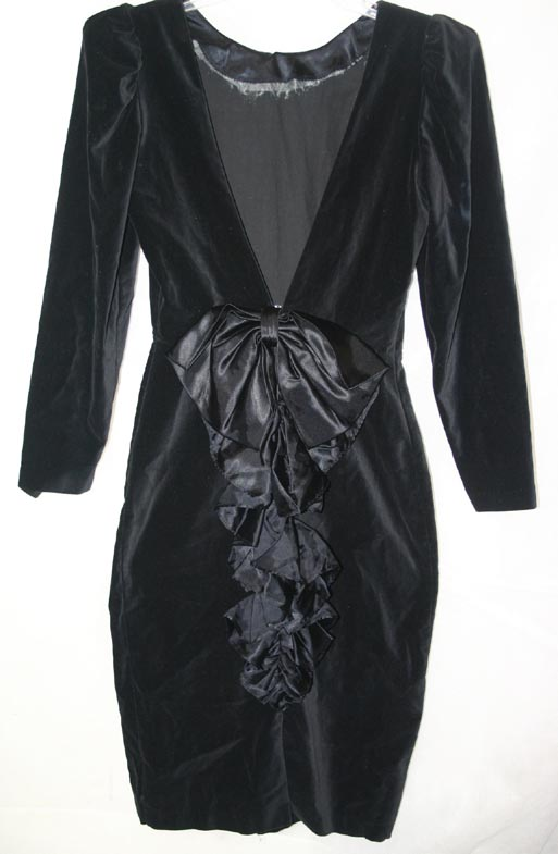 Vintage Gothic Black Velvet Open Back Satin Bow Dress