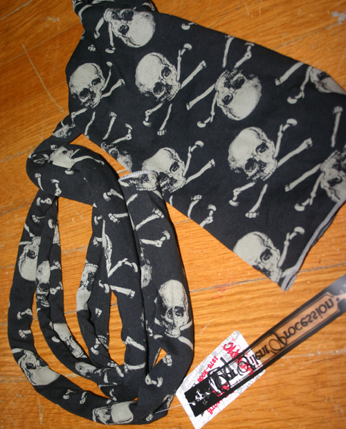 Hot Topic Black Gray Skull Scarf Head Wrap