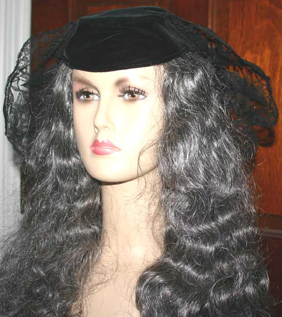 Vintage 1940s Black Velvet Lace Crown Tilt Hat