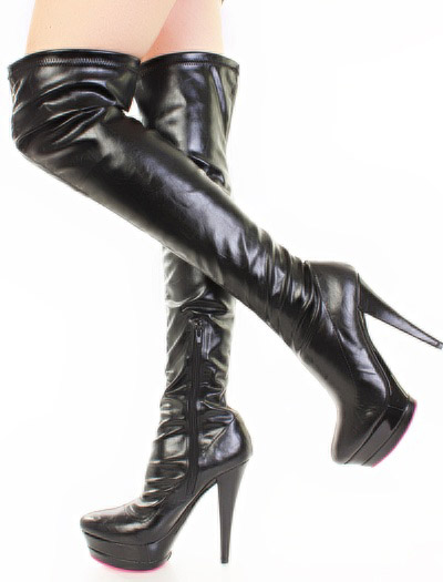 Black Wet Look Shiny 5.5 Inch Thigh High Boots Sz 8.5