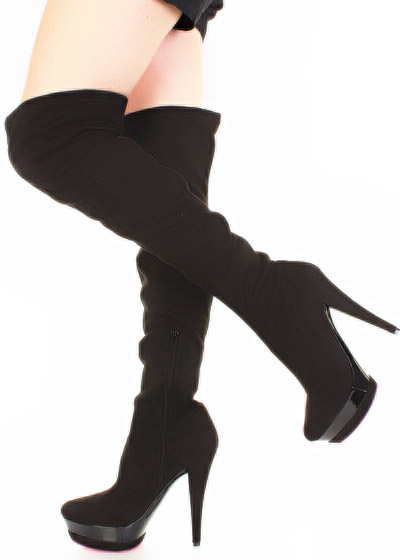 Black Suede Velvet Thigh High Platform Boots 6.5