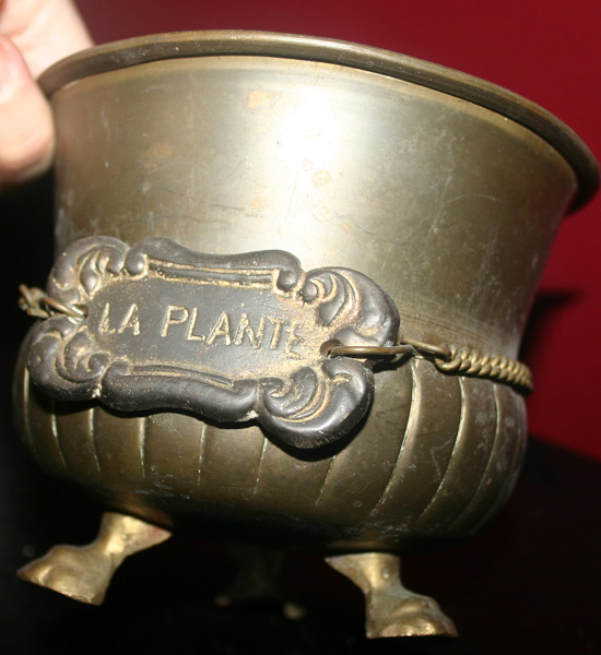 Vintage French Brass La Plante Footed Brass Planter
