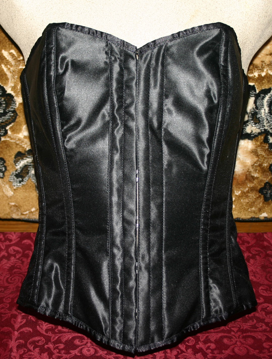 PinUp Bombshell Black Satin Overbust Corset Small