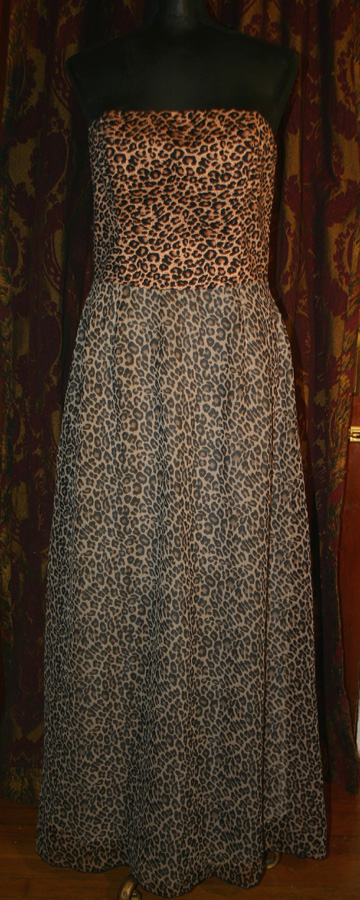 Vintage 50s Style PinUp Cheetah Leopard Strapless Dress