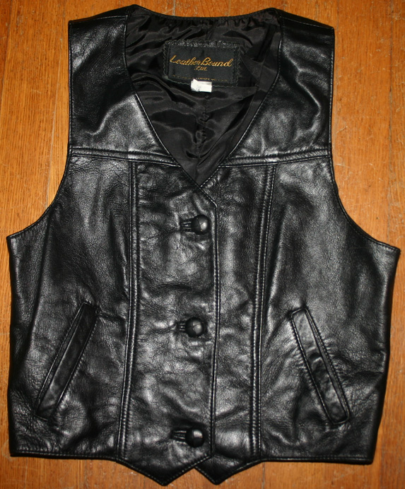 Vintage Leather Bound Ltd. Ladies Biker Black Vest XS