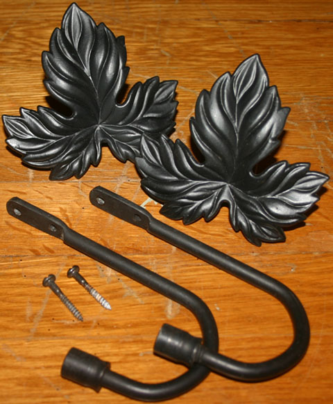 Black Iron Leaf Curtain TieBacks