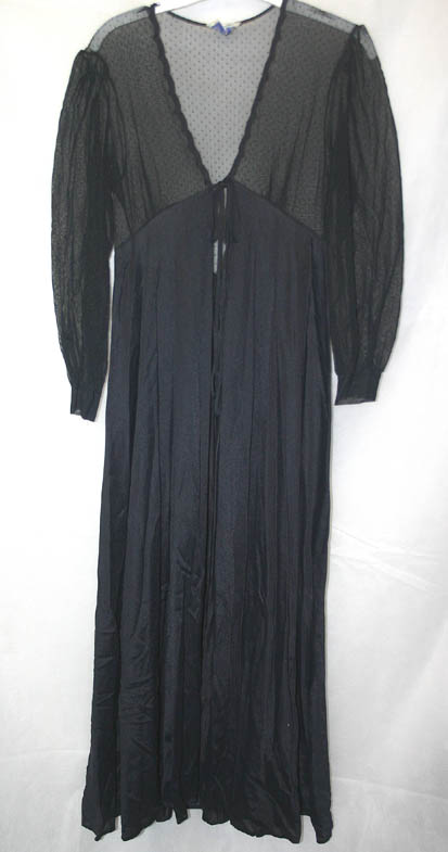 Vintage Lily of France Black Nightgown Robe Small