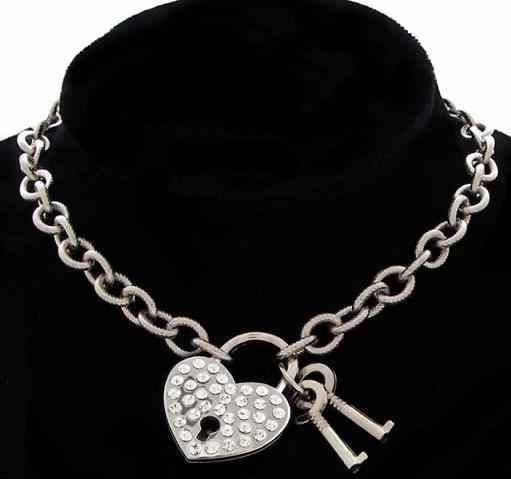 Rhinestone Heart Padlock Choker w/Keys