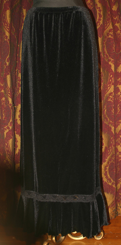 Vintage Black Velvet Lace Gothic Witchy Long Skirt Med LG