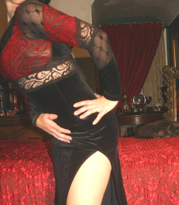 Vintage Lip Service Black Velvet & Lace Gown w/Slit
