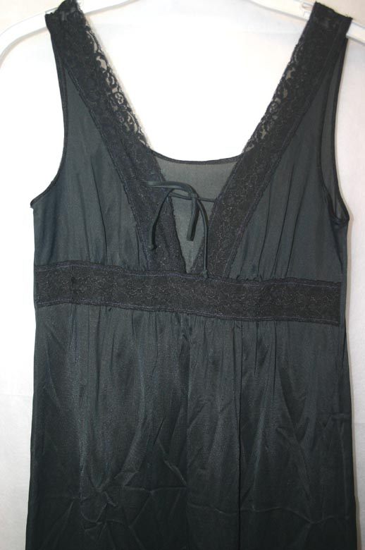 Vintage Texsheen Lingerie Black Long Nightgown XS