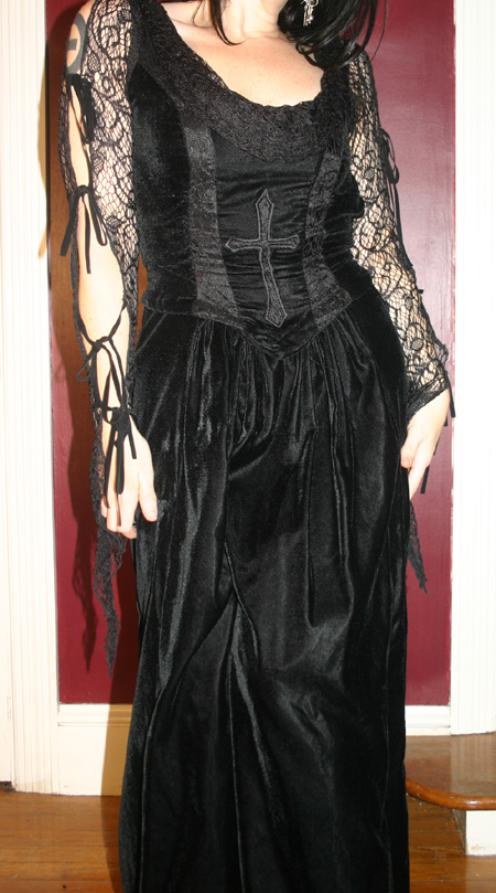 Lip Service Black Velvet Gothic Cross Gown Small