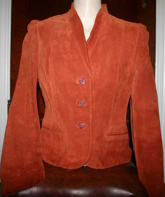 Vintage Orange Suede Leather Ladies Blazer Jacket 5/6