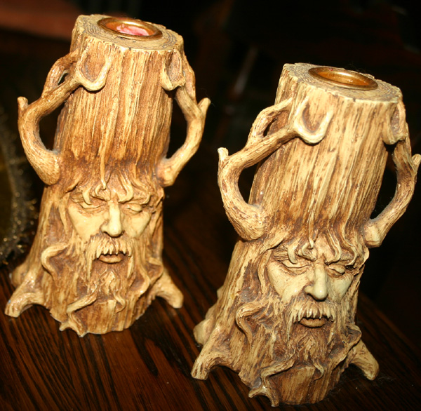 Unique Pair Greenman Man in Tree Candle Holders