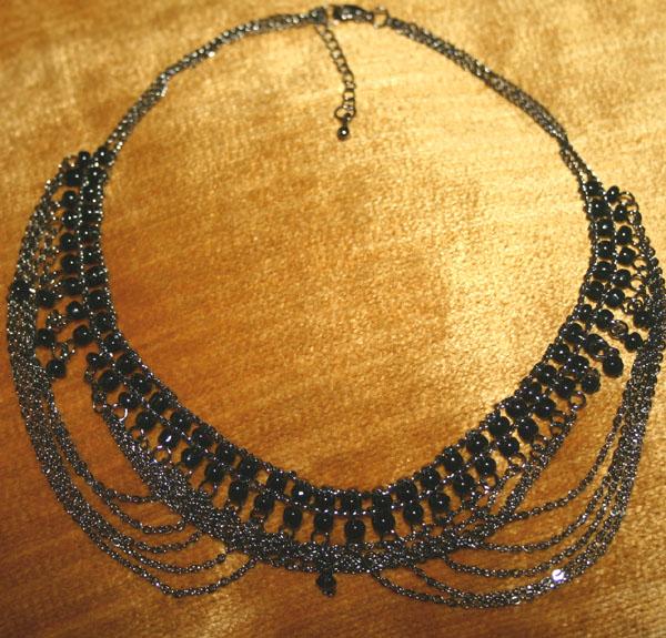 Gothic Cascading Chains Black Beaded Choker
