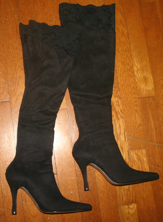 Black Suede Lace Trim Thigh High Boots Size 7