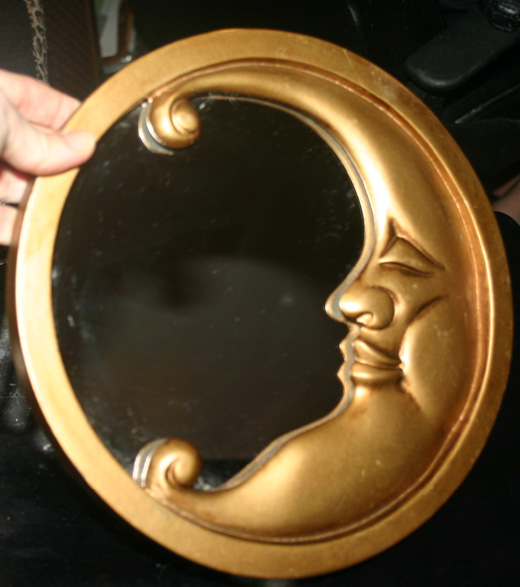 Vintage Wiccan Gold Man in the Moon Wall Mirror