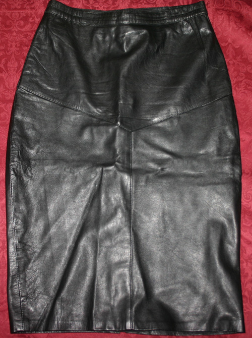 Vintage Fetish Sexy Black Leather Skirt Medium