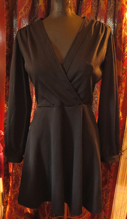 Vintage 1960s Union Made Black Fitted Mini Dress S/M