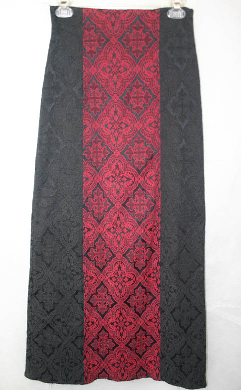 Gothic Red Black Cathedral Cross Long Skirt XS