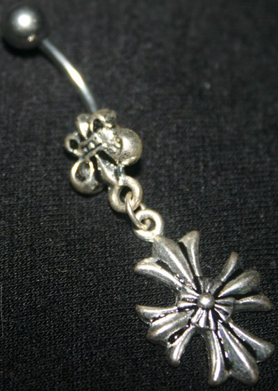 Silver Cross Charm Navel Jewelry 14G