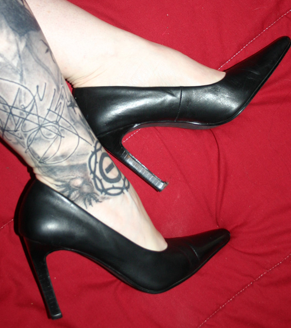 Vintage Sexy PinUp Black Genuine Leather Pumps Heels 6.5
