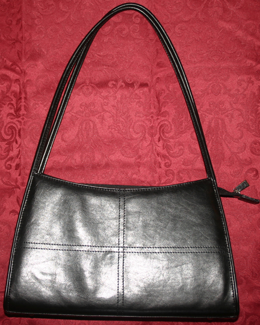 Black Leather Designer Medium Size Handbag Purse