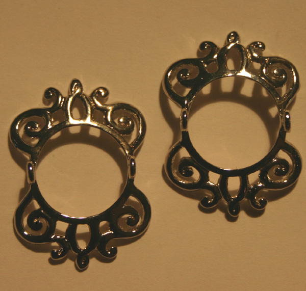 Pair Silver Scroll Design Nipple Barbell Shields