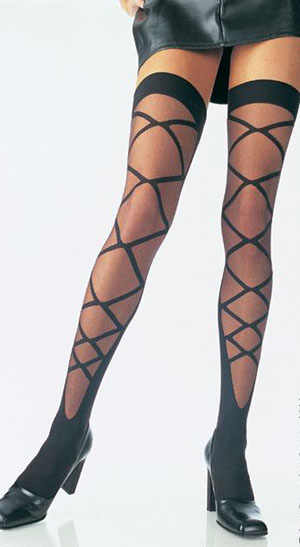 Gothic Fetish Burlesque Black LaceUp Thigh Hi Stockings